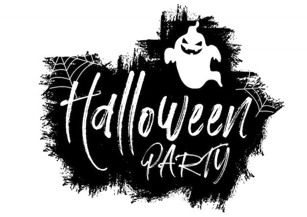 Fond de halloween grunge avec texte et fantôme Vecteur gratuit