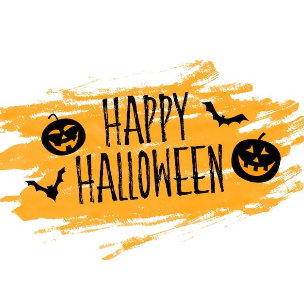 Fond d'halloween heureux avec citrouilles et chauves-souris Vecteur gratuit