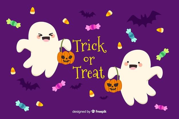 Fond d'halloween heureux dessiné à la main Vecteur gratuit