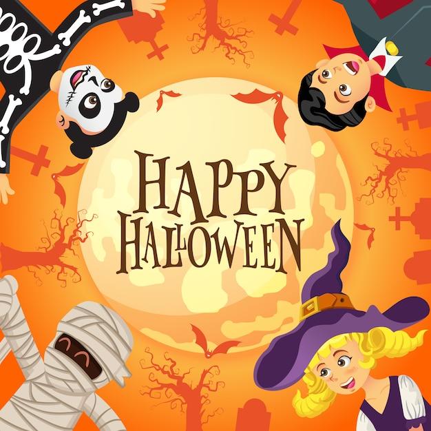 Fond D'halloween Heureux Avec Des Enfants Habillés En Costume D'halloween Dans Le Cimetière Et Le Fond De La Pleine Lune Vecteur Premium
