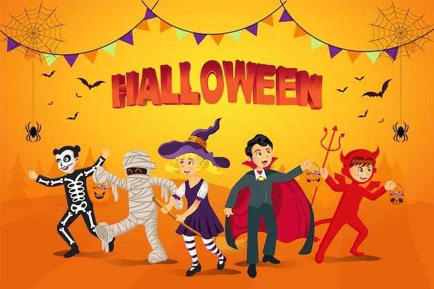 Fond D'halloween Heureux. Enfants Habillés En Costume D'halloween Pour Aller Trick Or Treating Avec Fond Orange Vecteur Premium