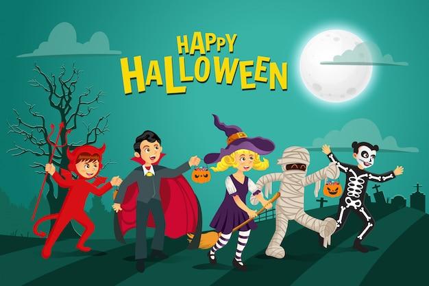 Fond D'halloween Heureux. Enfants Habillés En Costume D'halloween Pour Aller Trick Or Treating Avec Fond Vert Vecteur Premium