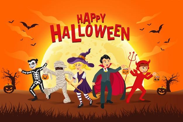 Fond D'halloween Heureux. Enfants Habillés En Costume D'halloween Pour Faire Des Trucs Ou Des Friandises Au Clair De Lune Vecteur Premium