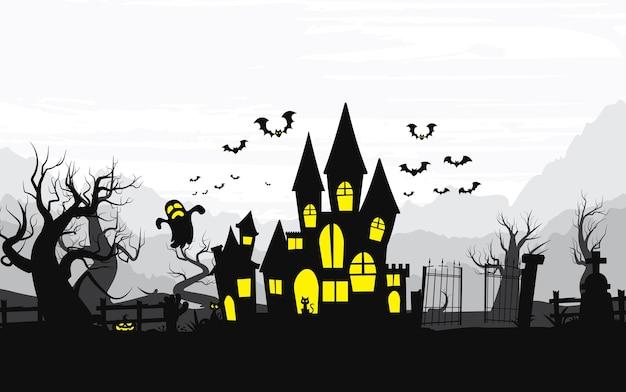Fond D'halloween Heureux, Halloween. Vecteur Premium