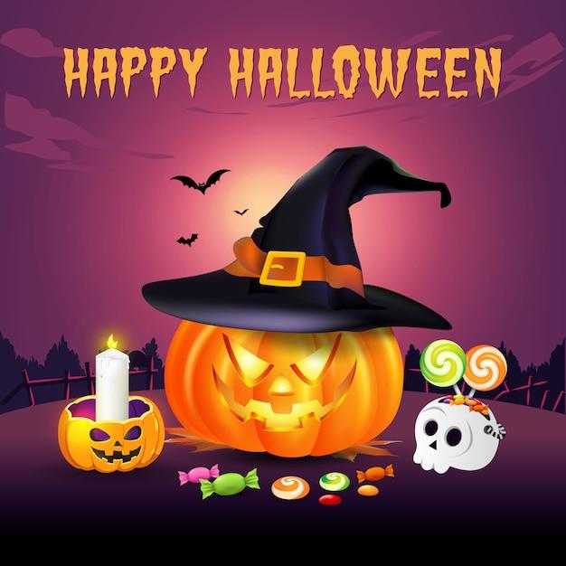 Fond D'halloween Heureux Avec Jack O Lantern En Chapeau De Sorcière Et Bonbons D'halloween. Illustration Pour Joyeux Halloween Carte, Flyer, Bannière Et Affiche Vecteur Premium