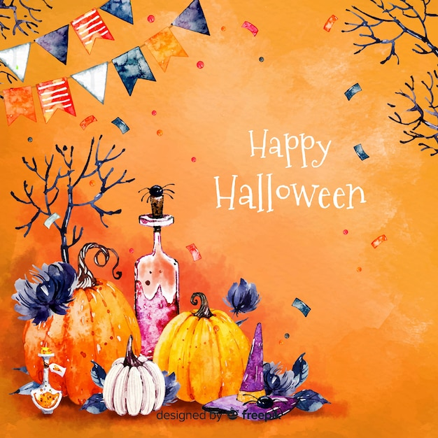 Fond d'halloween heureux en orange Vecteur gratuit
