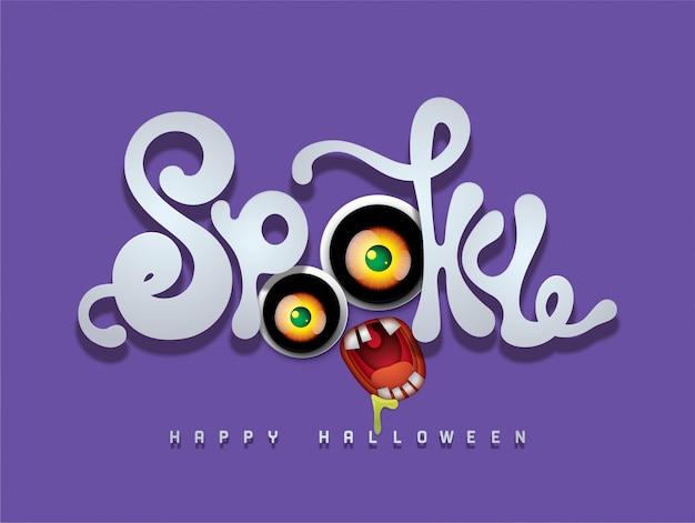 Fond de halloween heureux avec la police 3d spooky Vecteur Premium