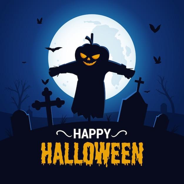 Fond D'halloween Heureux Avec La Silhouette De L'épouvantail Effrayant Vecteur Premium
