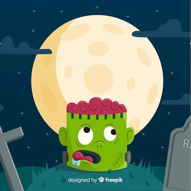 Fond de halloween heureux avec tête de zombie au cimetière Vecteur gratuit
