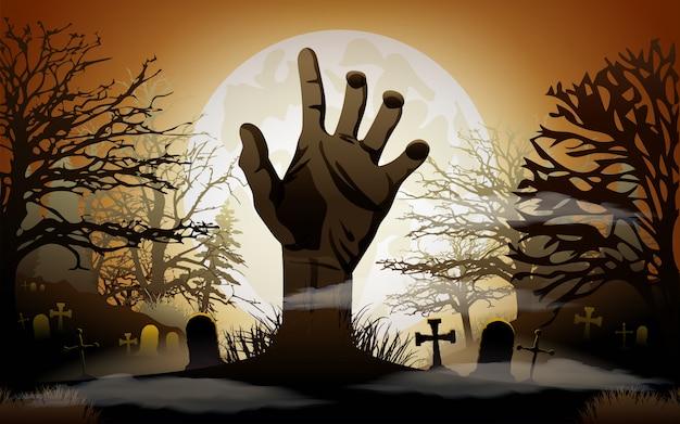 Fond d'halloween main de zombie Vecteur Premium