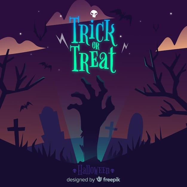 Fond d'halloween avec la main de zombie Vecteur gratuit