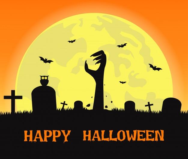 Fond d'halloween avec des mains de zombies Vecteur Premium