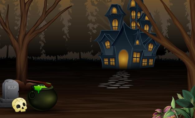 Fond d'halloween avec une maison effrayante dans la nuit Vecteur Premium