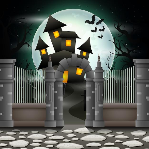 Fond d'halloween avec maison en pleine lune Vecteur Premium