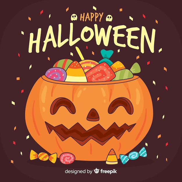 Fond halloween mignon dans un design plat avec citrouille et bonbons Vecteur gratuit