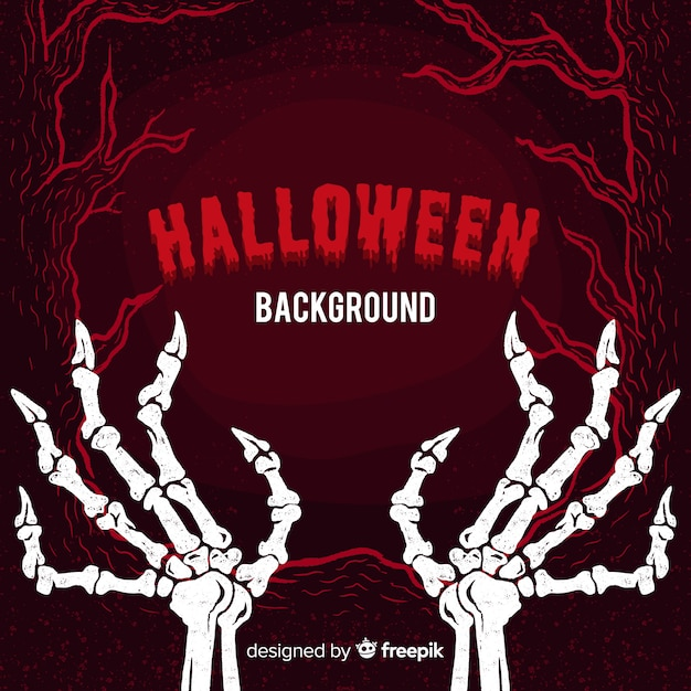 Fond d'halloween avec des os Vecteur gratuit