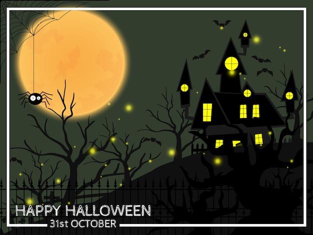 Fond d'halloween avec texte happy halloween. Vecteur Premium