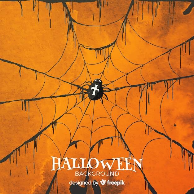 Fond d'halloween avec toile d'araignée à l'aquarelle Vecteur gratuit