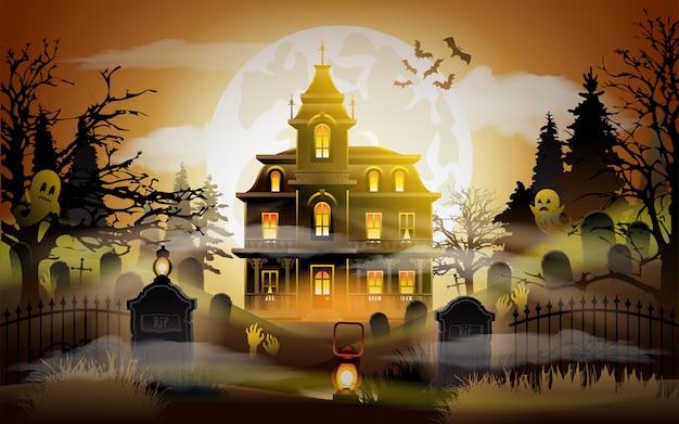 Fond d'halloween vieille maison effrayante. Vecteur Premium