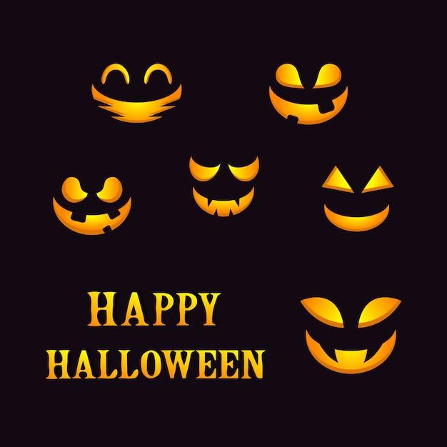 Fond d'halloween avec le visage de citrouilles sur le tableau noir. Vecteur Premium