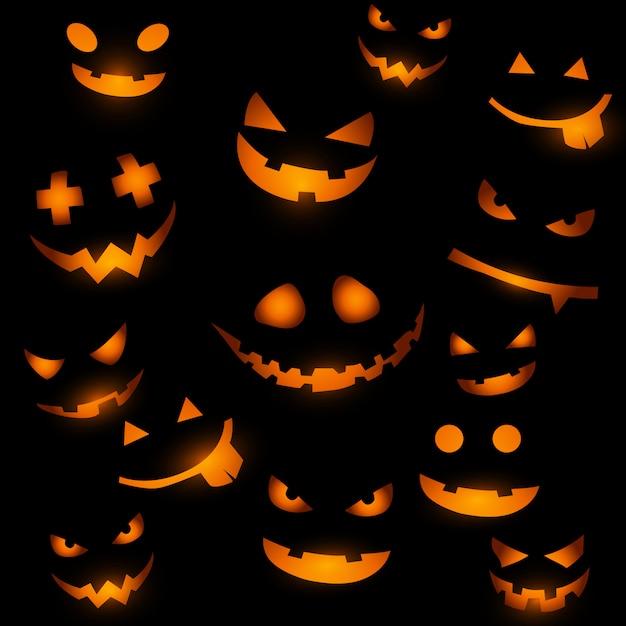 Fond d'halloween avec des visages de citrouille Vecteur Premium