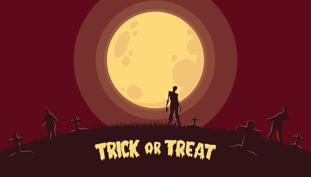 Fond d'halloween avec zombie au cimetière Vecteur Premium