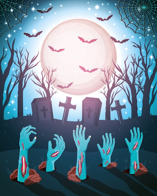 Fond D'halloween Avec Des Zombies Vecteur Premium