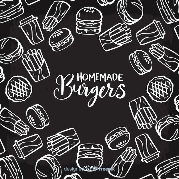 Fond de hamburgers faits maison Vecteur gratuit