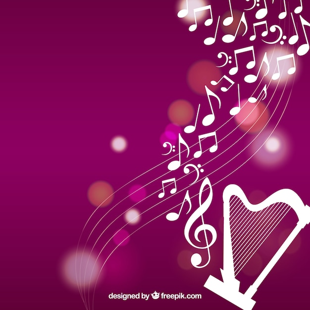 Fond D'harpe Avec Notes Musicales Vecteur gratuit