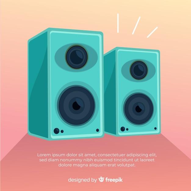 Fond de haut-parleur bleu dessiné à la main Vecteur gratuit
