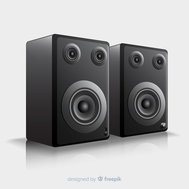 Fond de haut-parleur noir 3d réaliste Vecteur gratuit
