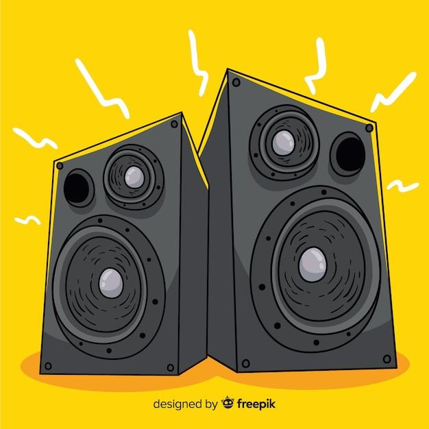 Fond de haut-parleur noir dessiné à la main Vecteur gratuit