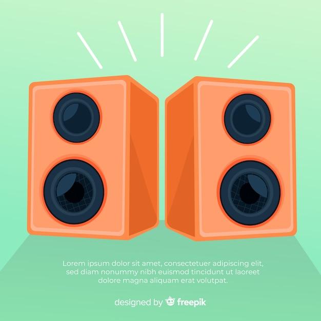 Fond de haut-parleur orange dessiné à la main Vecteur gratuit