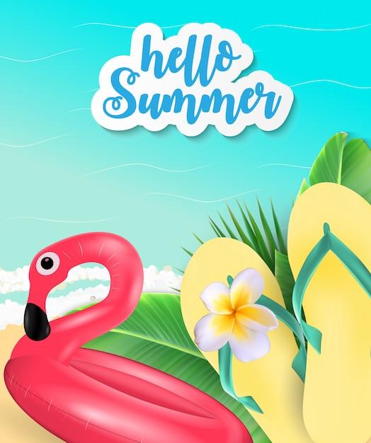 Fond de l'heure d'été. plage ensoleillée Vecteur Premium