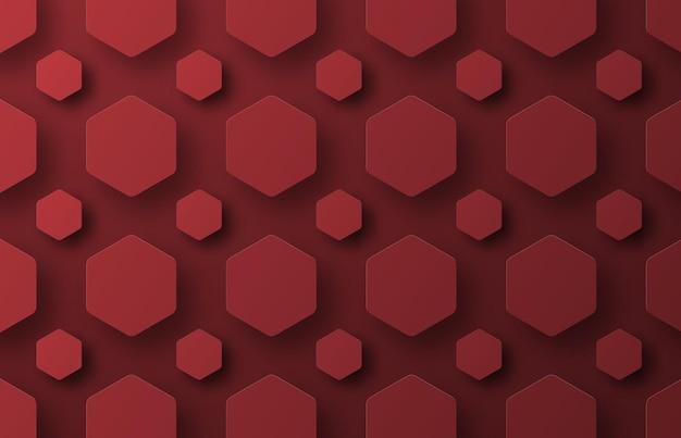 Un Fond Avec Des Hexagones Rouges Volants De Différentes Tailles. Vecteur Premium