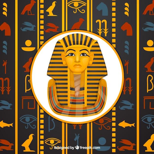 Fond de hiéroglyphes égyptiens avec design plat Vecteur gratuit