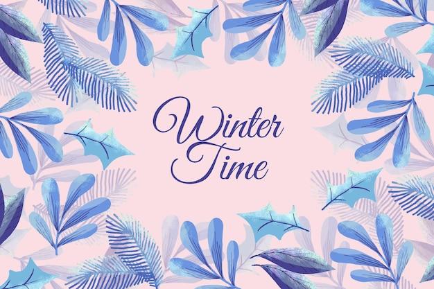Fond D'hiver Aquarelle Avec Des Branches Vecteur Premium