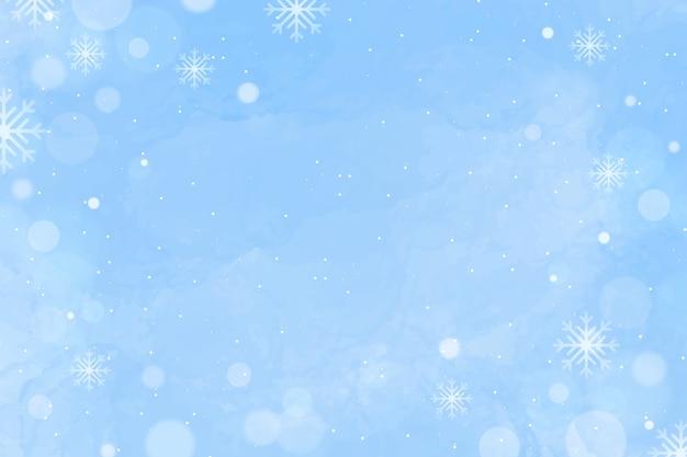 Fond D'hiver Aquarelle Avec Un Espace Vide Vecteur Premium