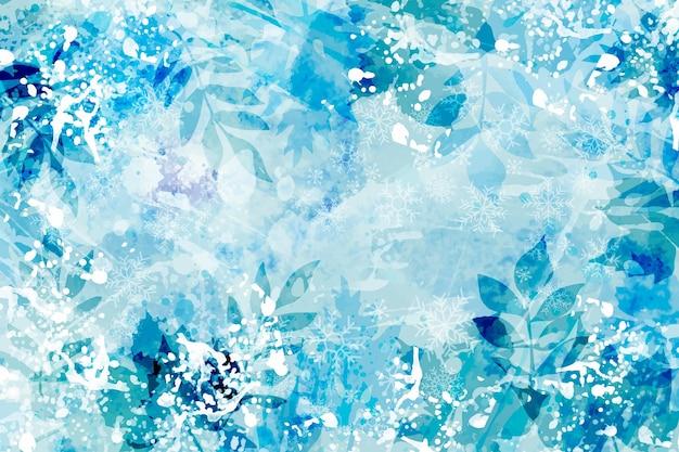 Fond D'hiver Aquarelle Vecteur gratuit