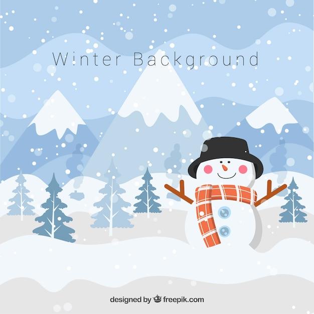 Fond d'hiver avec bonhomme de neige Vecteur gratuit
