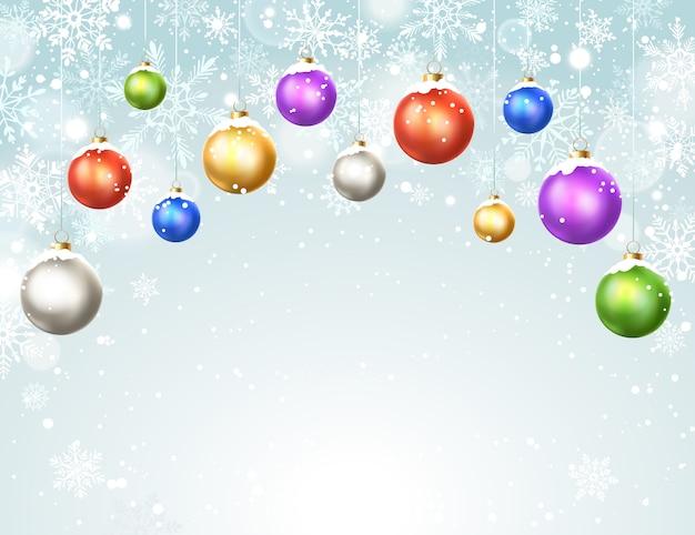 Fond D'hiver Avec Des Boules De Noël Vecteur Premium