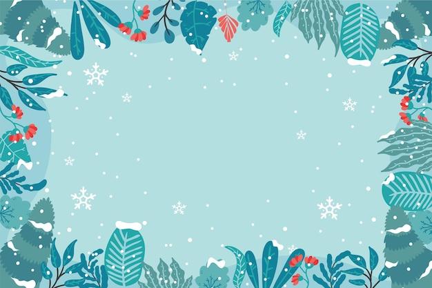 Fond D'hiver Design Plat Vecteur Premium