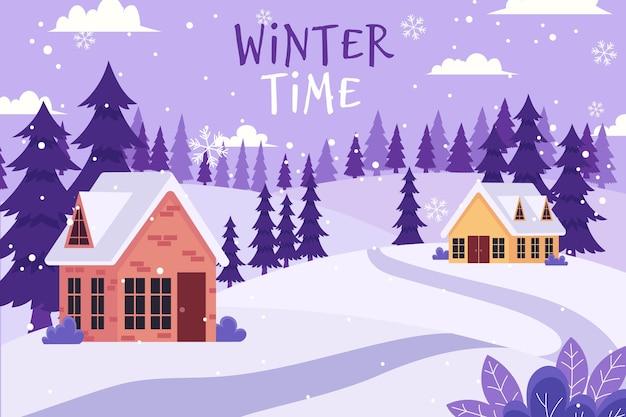Fond D'hiver Design Plat Vecteur gratuit