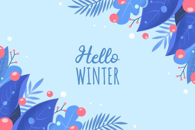 Fond D'hiver Dessiné à La Main Vecteur gratuit