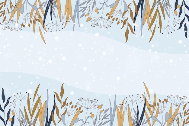 Fond D'hiver Avec Un Espace Vide Vecteur Premium