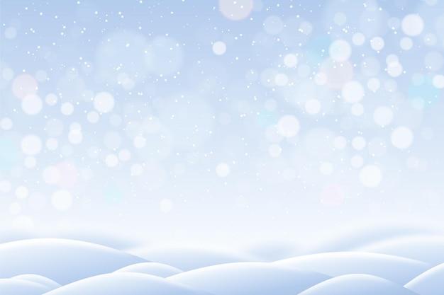 Fond D'hiver Flou Avec Des Collines Vecteur gratuit
