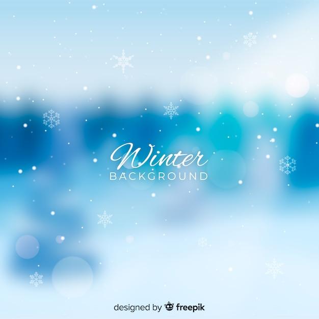 Fond d'hiver flou Vecteur gratuit