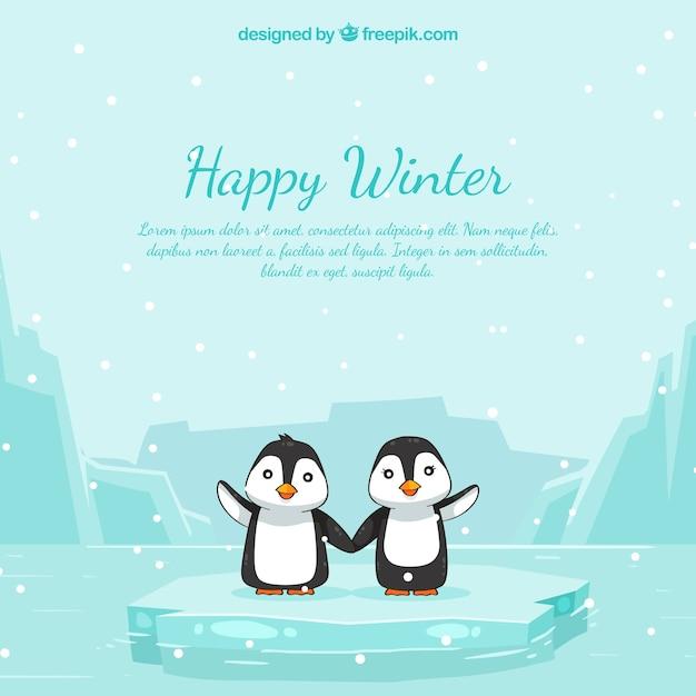 Fond d'hiver heureux avec des pingouins Vecteur gratuit