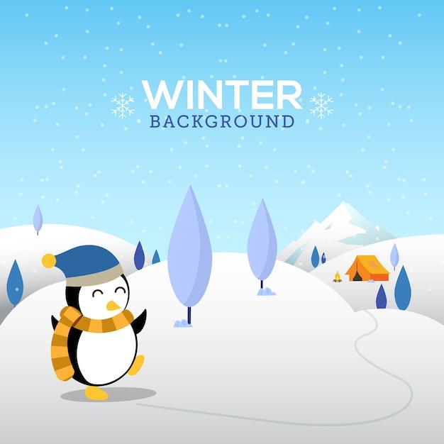 Fond d'hiver avec joli pingouin Vecteur Premium
