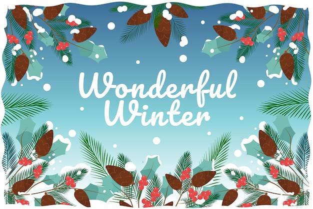 Fond D'hiver Merveilleux Dessiné à La Main Vecteur Premium